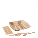 BBQ Pack 1 - Including wooden cutlery & square palm plates
